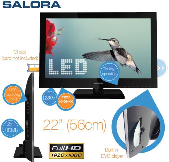 *Tipp* Salora 22 Zoll FullHD TV mit integriertem DVD Player und Aufnahme Funktion für nur 148,90€