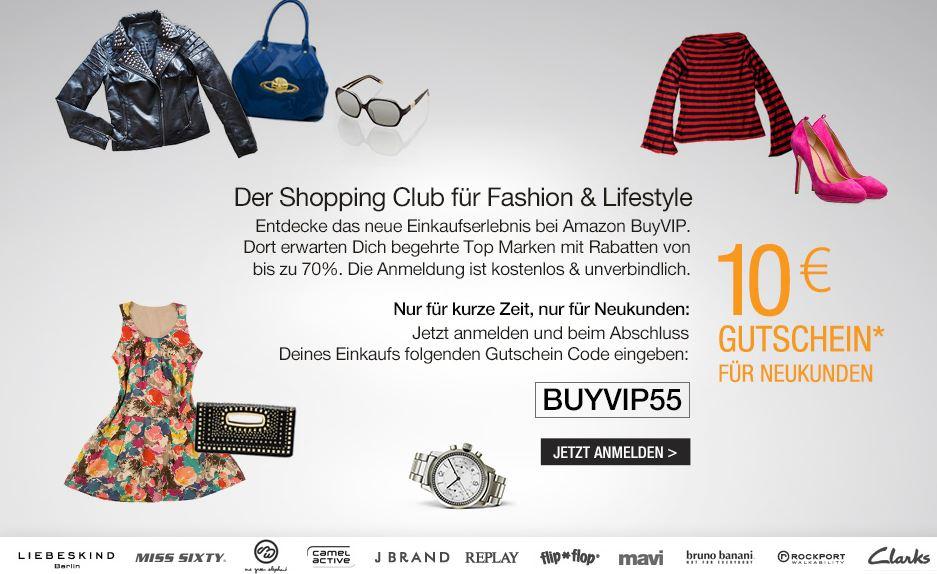 Amazon BuyVIP, 10€ Neukunden Gutschein mit 50MBW, z.B für den Ray Ban Sale!