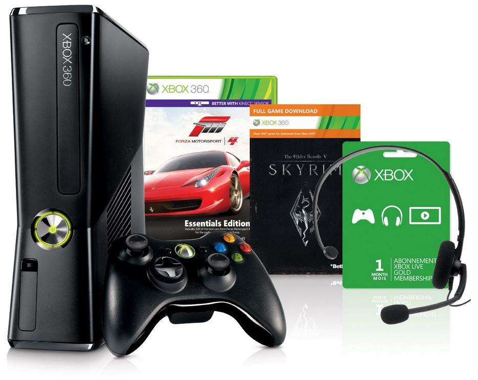 Xbox 360 250 GB + Forza Motorsport 4   Essential Edition + Skyrim Bundle für 130,92€   als Amazon WHD