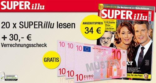 Super illu 20 Ausgaben für 34€ + 30€ Verrechnungsscheck