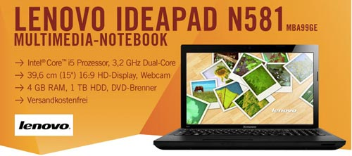 Lenovo Ideapad N581 für 399€ inkl. Versand