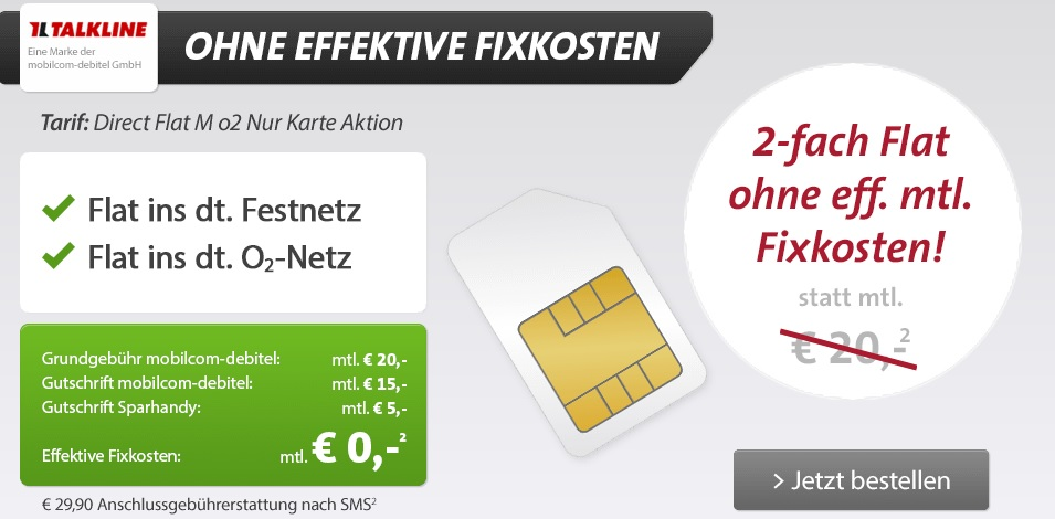 Festnetz  und o2 Netz Flat für jetzt effektiv 0,00€/Monat