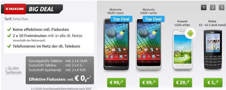 [Big Deal] Kostenlose Handyverträge mit Handys ab 1€