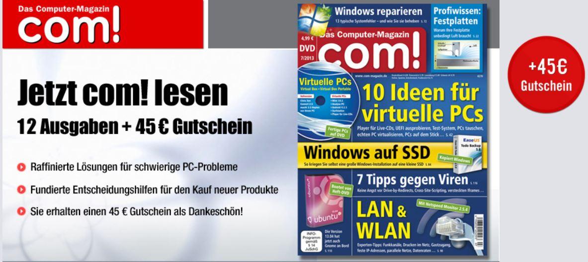 com! Jahresabo mit DVD für 59,88€ + 45€ Gutschein