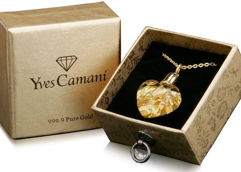 Yves Camani   Glas Herz Anhänger mit 999.9 Gold für 19,90€