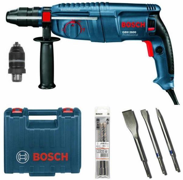 Bosch GBH2600   SDS plus Bohrhammer inkl. Meißel + Bohrer Set für 169,90€