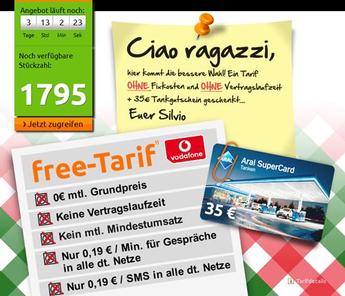 35€ Aral Tankgutschein für 0,19€ dank Schubladentarif von Vodafone