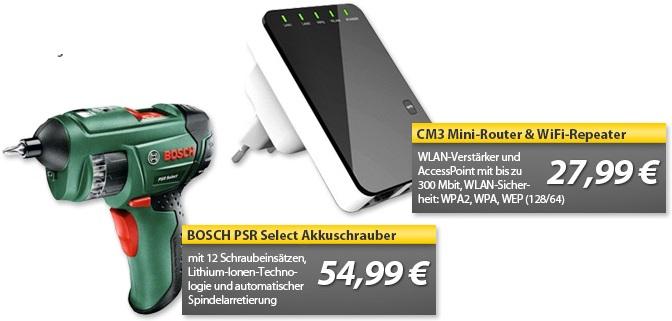 BOSCH PSR Select Akkuschrauber & CM3 Mini Router & WiFi Repeater   OHA Deals