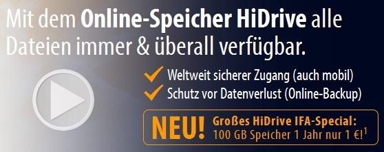 Wieder da! 100GB Online Festplatte HiDrive nur 1€/Jahr! (kostet sonst 58,80€)!
