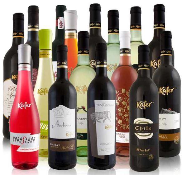 12 Flaschen Käfer Feinkost Wein (0,75l), aus einer Auswahl von 8 Kombinationen, inkl. Versand 39,99€