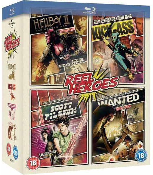 Reel Heroes Blu ray Collection mit Wanted, Kick Ass, Scott Pilgrim Vs. The World und Hellboy 2, inkl. Vesand 12,45€