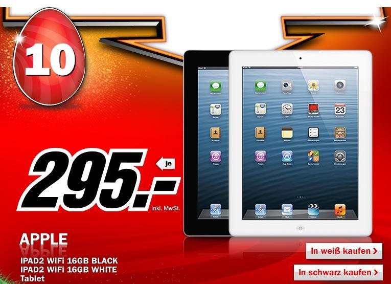 Top! Apple iPad 2 mit 16GB und WiFi für 295€ bis Morgenfrüh 08Uhr