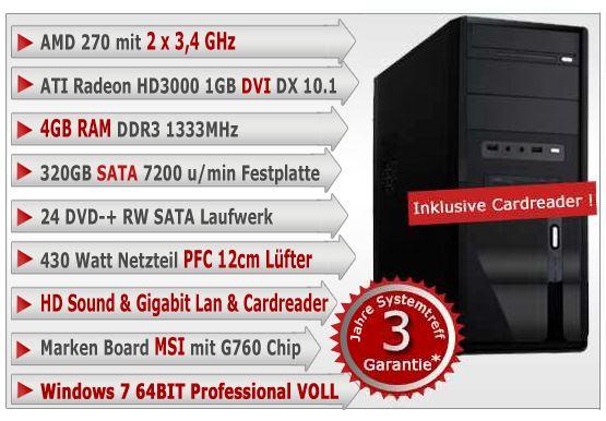PC System mit AMD AM3 (2x3,4 GHz), 4GB, Windows 7 für 219,90€
