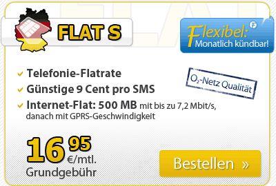 Neue Tarife bei DeutschlandSim, z.B FLAT S nur 16,95€ monatlich.