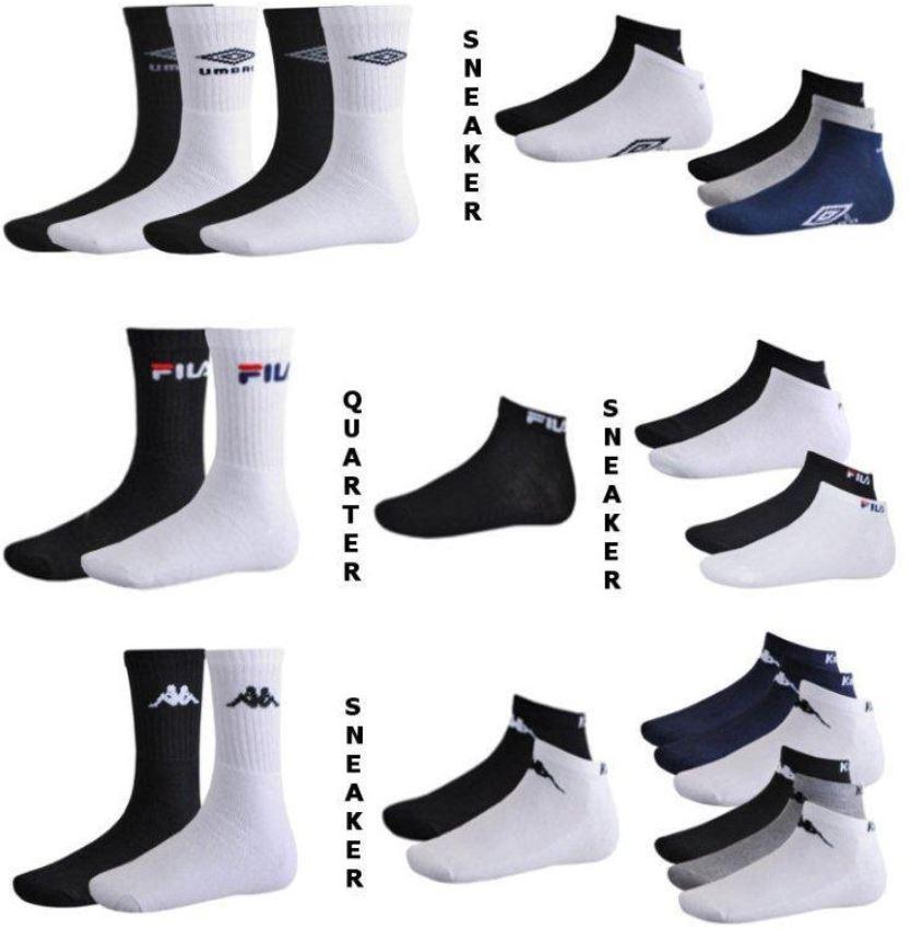 Fila / Kappa / Umbro   9er Pack unisex Sport, Quarter oder Sneaker Socken für je 12,99€   wieder da!