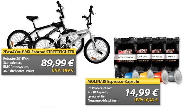 Fast4You BMX Fahrrad & 40 MOLINARI Espresso Kapseln   OHA Deals