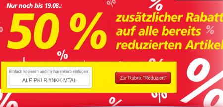 50% Rabatt auf bereits reduzierte Artikel Real Onlineshop dank Gutscheincode