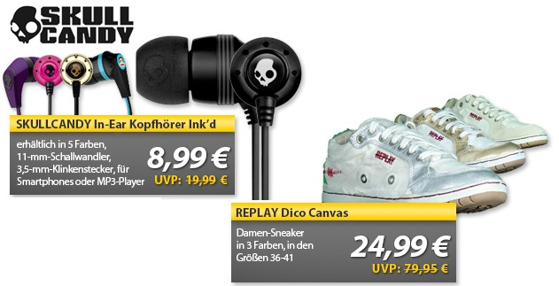 SCULLCANDY In Ear Kopfhörer & REPLAY Dico Canvas Damen Sneaker   OHA Deals