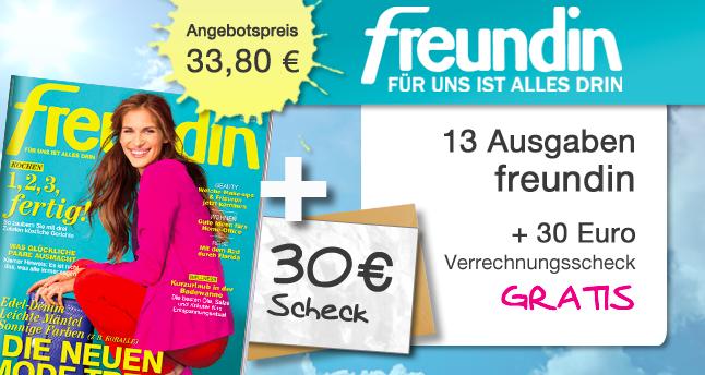 Freundin Abo 13 Ausgaben effektiv für 3,80€