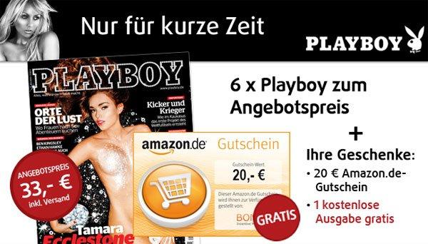 8 Ausgaben Playboy für 33€ + 20€ Amazon Gutschein