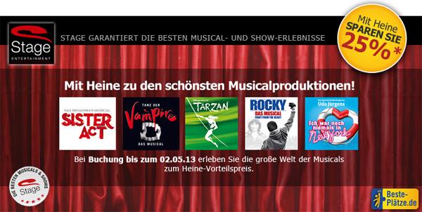 Musical Tickets mit 25% Rabatt   in 5 verschiedenen Städten