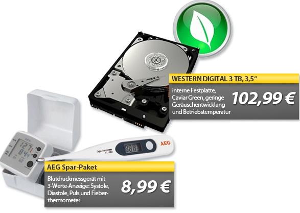 Western Digital 3TB Festplatte & AEG Blutdruckmessgerät & Thermometer   OHA Deals