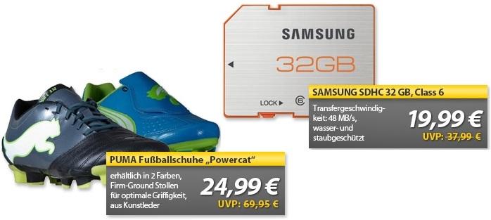 Puma Fußballschuhe Powercat 3.12 FG oder V4.11 I FG & 32GB SDHC Samsung Class 6 plus Serie   OHA Deals