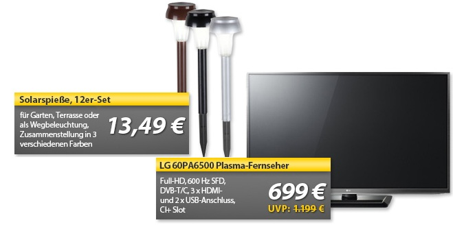12er Set Solarspieße & LG 60PA6500 60″ Plasma Fernseher   OHA Deals!