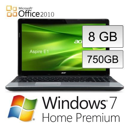 15,6 Notebook, Acer Aspire E1 Dual Core, 750 GB, 8 GB, für 369,90€