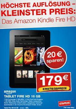 Amazons Kindle Fire HD 16GB für 179€ und 32GB für 229€ bei Staples vor Ort!