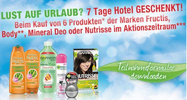 Garnier verschenkt jetzt 7 Hotelübernachtungen beim Kauf von 6 Produkten!.