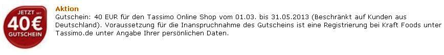 Bosch TAS2002 Tassimo T20, Multi Getränke Automat mit 40€ Kapselgutschein für nur 35€
