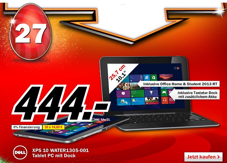 Dell XPS 10, Tablet PC 25,6 cm (10,1 Zoll) für 444€