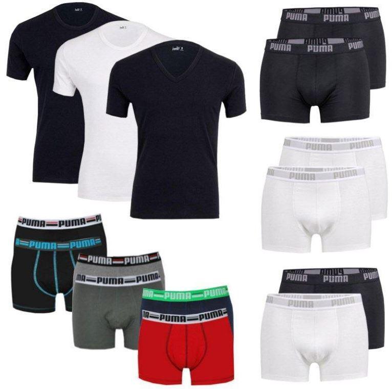 PUMA 4er Pack T Shirts (V  , R Neck) oder Boxershorts, je Set für 27,90€