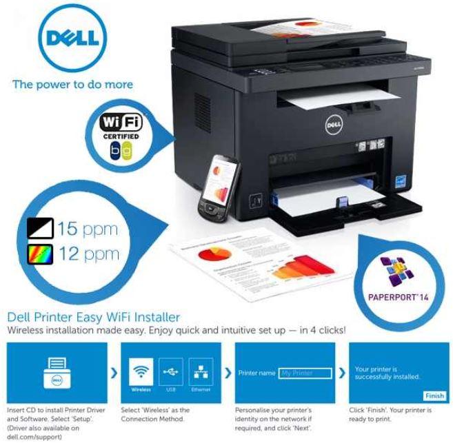 Dell C1765nf, All in One Multifunktionsgerät, Farblaser Netzwerkdrucker für ~177€   Update!