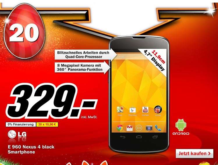 Smartphone Nexus 4 E 960 schwarz für 329€