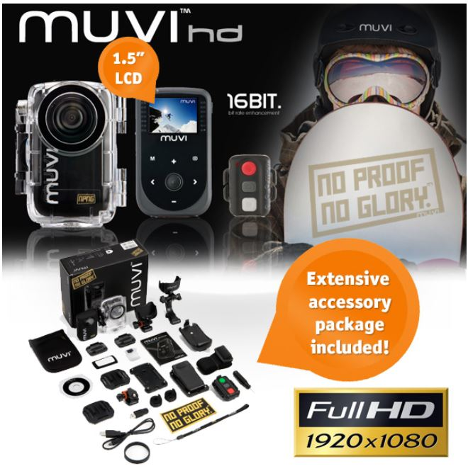 Action Kamera, Veho MUVI HD 1080p mit 1,5 LCD und Zubehör für 155,90€ (Vergleich 277€)