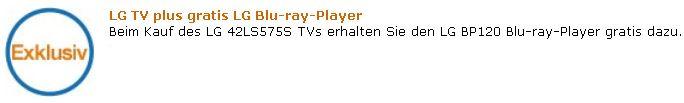 *HOT* 42 LG 42LS575S, mit 107cm & LG BP120 Blu ray Player nur 449€