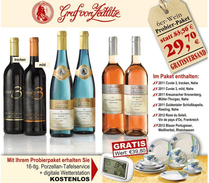6 Flaschen Wein + Wetterstation + Tafelservice für 29,70€