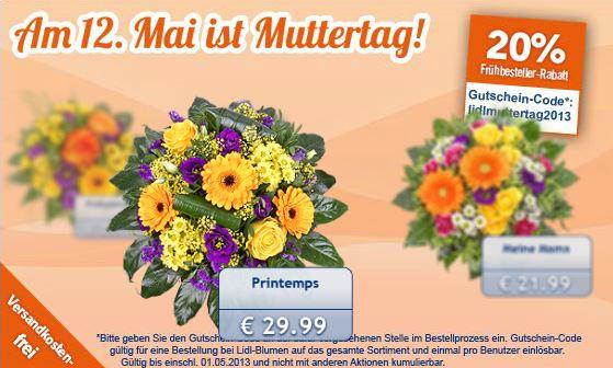 20% Rabatt und Versandkostenfrei auf Lidl Blumen!