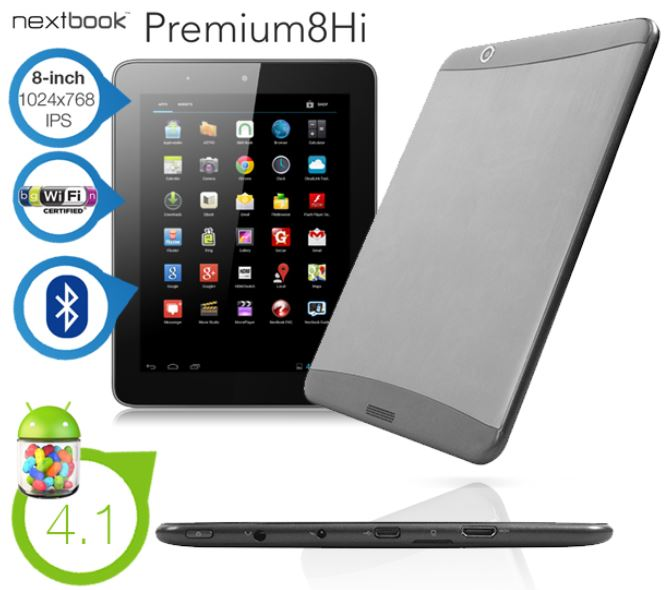 Nextbook 8 Zoll Android 4.1 Dual Core Tablet mit WiFi, Bluetooth und 1024x768 IPS Bildschirm für 105,90€