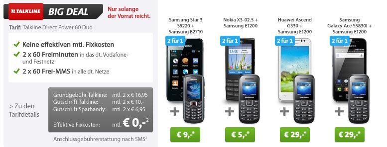 Tipp! Verschiedene Handys ab 5€ mit Null Euro Verträgen!