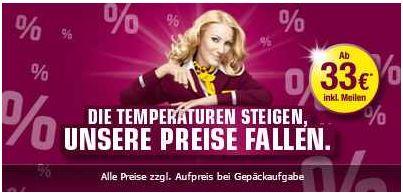 One way Flüge bei Germanwings ab 33€ inklusive Meilen (ohne Gepäck)   Nur heute Nacht!