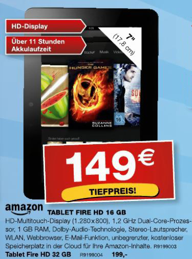 Amazons Kindle Fire HD 16GB für149€ bei Staples vor Ort!