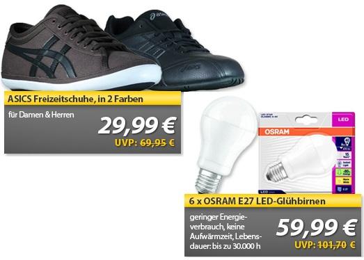 ASICS Freizeitschuhe & 6er Pack Osram E27 LED Glühbirnen   OHA Deals