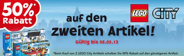 50% Rabatt auf den zweiten Lego City Artikel bei ToysRUs