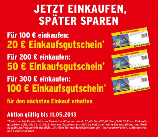 Max Bahr Gutscheinaktion: z. B. 100€ Gutschein bei Einkäufen ab 300€