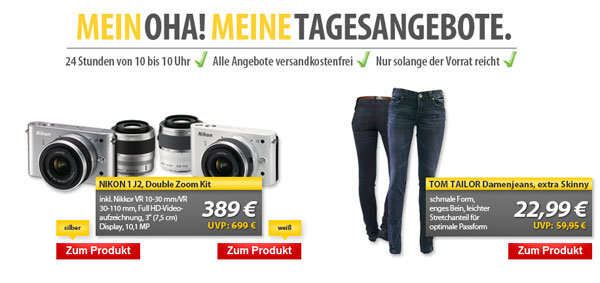 OHA! Angebote von Meinpaket   Nikon 1 J2 Systemkamera für 389€