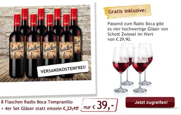 Weinset: 8 Flaschen Rotwein + 4 Rotweingläser für 39€