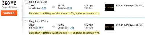 Mit Etihad für 368€ im Mai/Juni nach Bangkok
